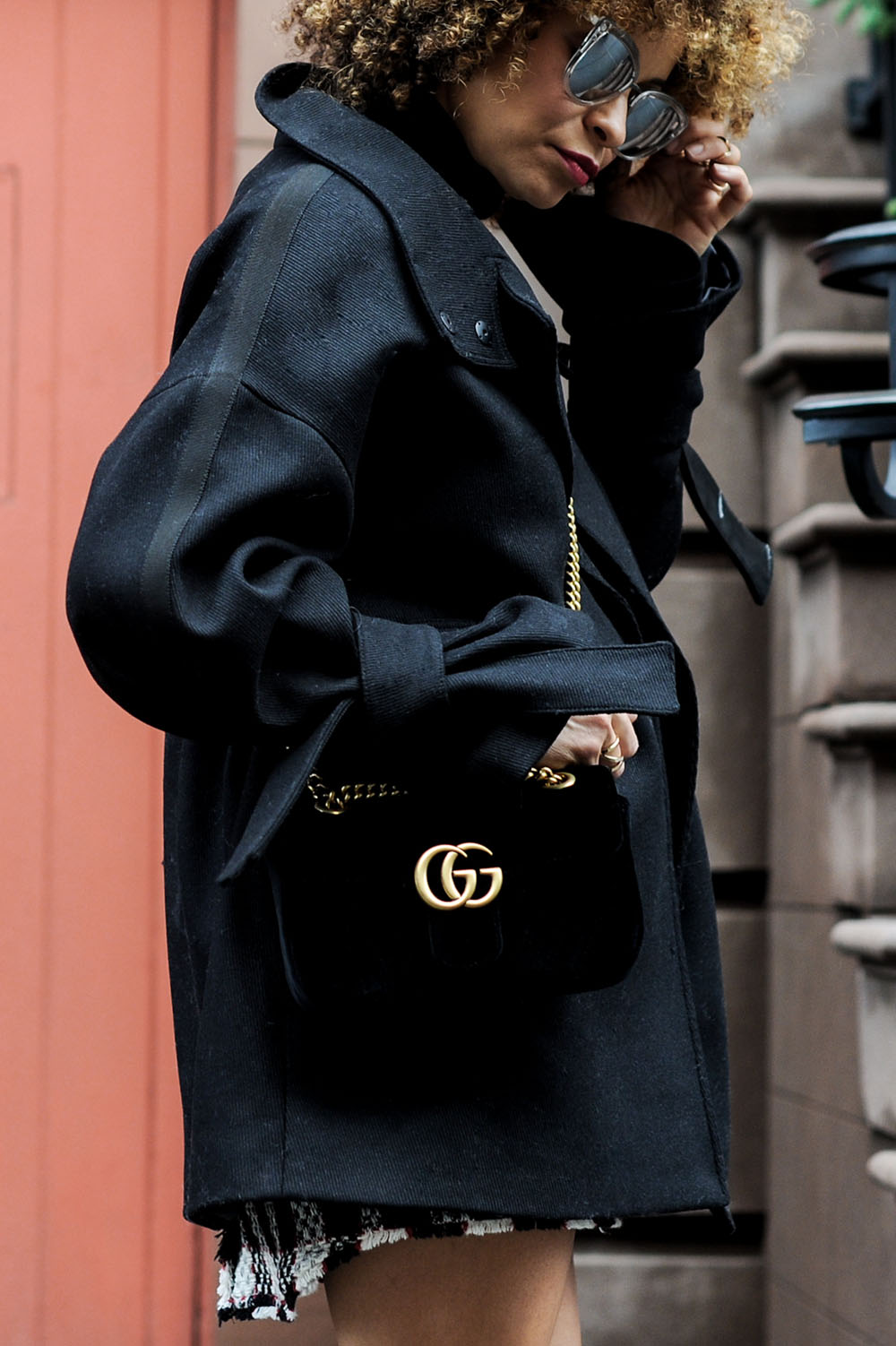 8bdbcb53d87 Street-style-blogger-Sai-De-Silva-wearing-Checkered-dress-with-Gucci-purse -and-Gucci-Boots-8