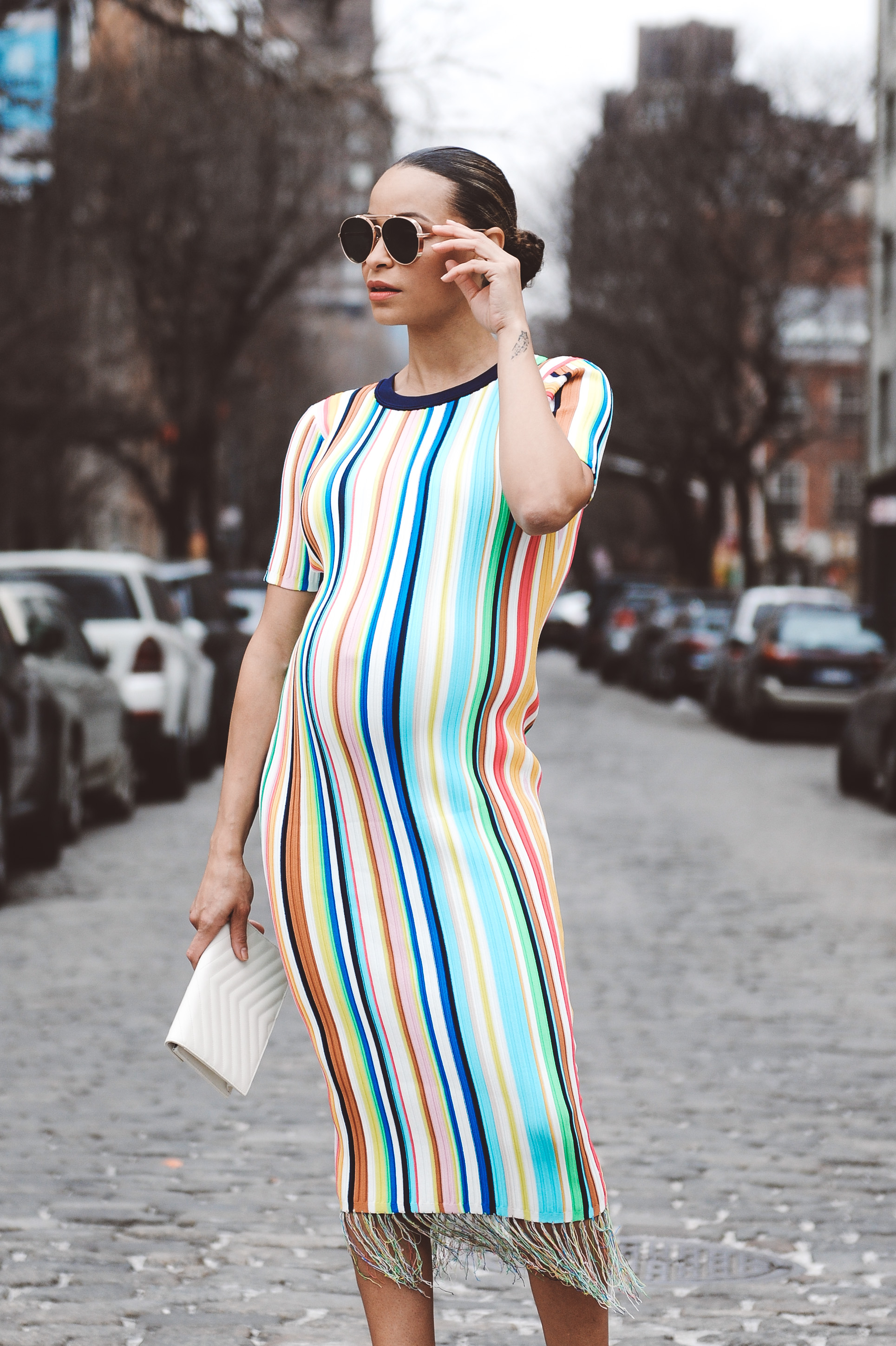 bd0ad3141c2 Lifestyle Blogger Sai De Silva Shows Pregnancy at 9 months 36 weeks in a  stripe Milly Dress10