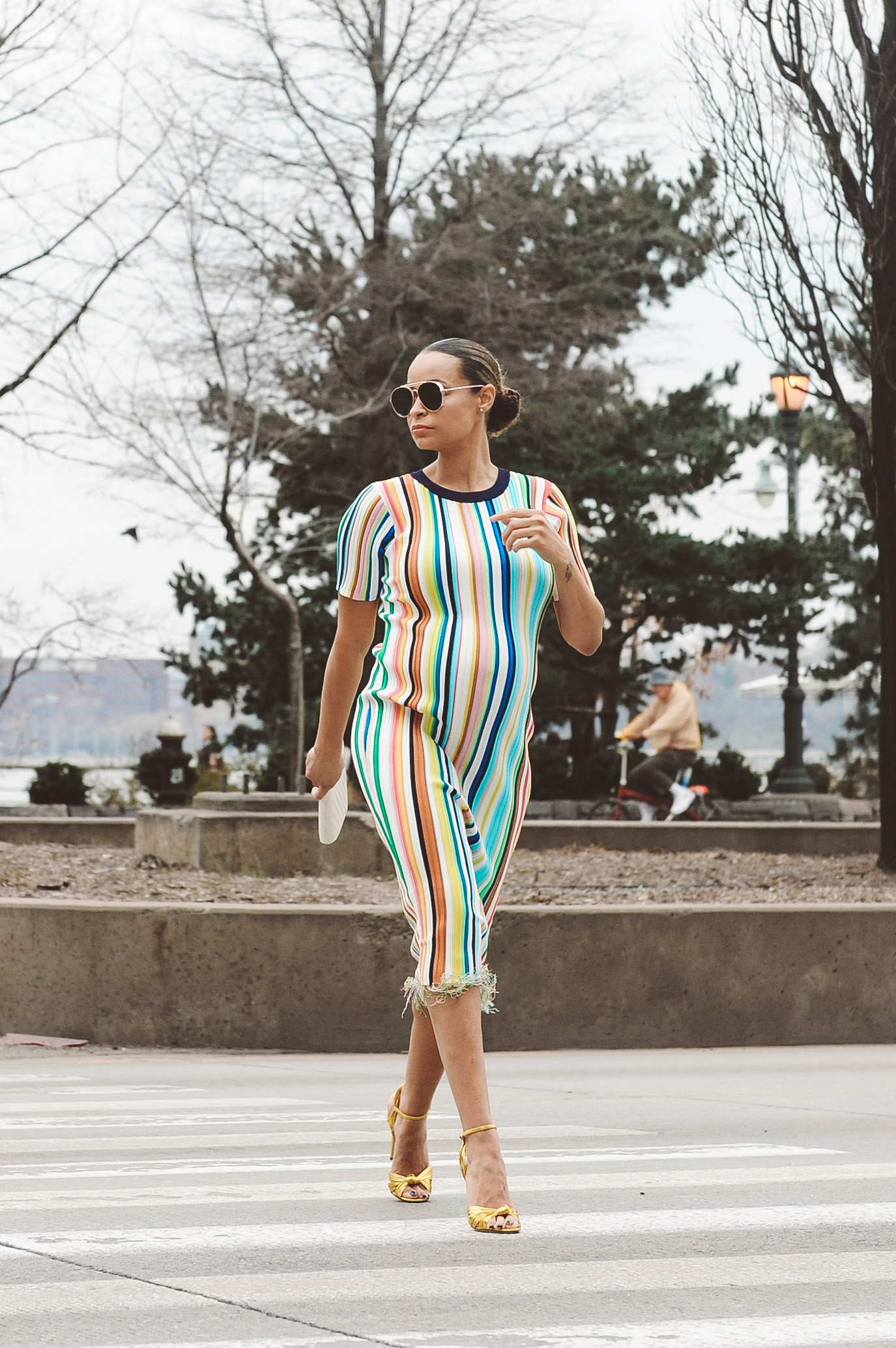 fddfdb9cb7a Lifestyle Blogger Sai De Silva Shows Pregnancy at 9 months 36 weeks in a  stripe Milly Dress3