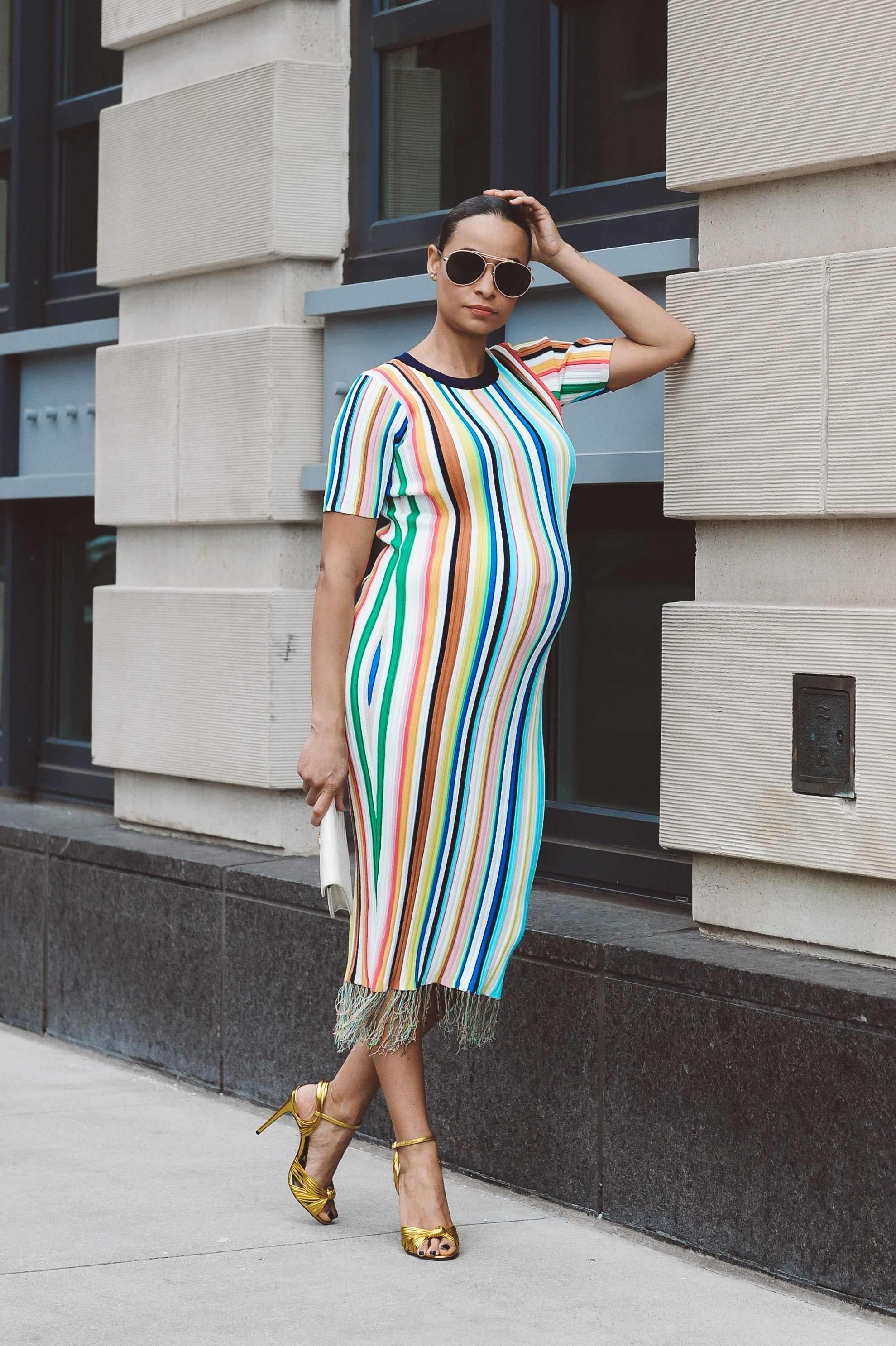 ecaa03bc6a7 Lifestyle Blogger Sai De Silva Shows Pregnancy at 9 months 36 weeks in a  stripe Milly Dress6